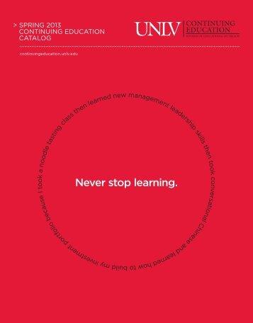 Download Spring 2013 Catalog - UNLV Continuing Education ...