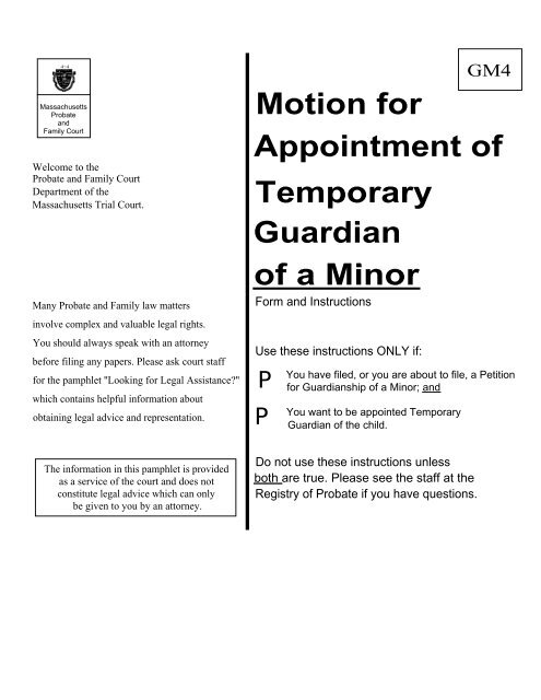 Motion for Appointment of Temporary Guardian of a Minor