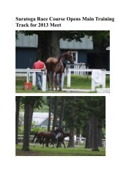 Saratoga Race Course Opens Main Training Track for 2013 Meet