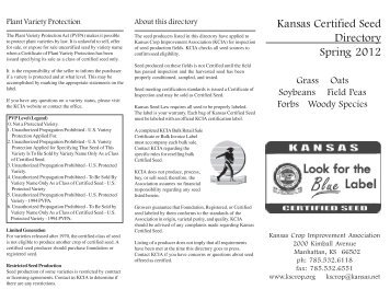 Spring 2007 Seed Directory - Kansas Crop Improvement Association