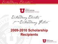 2009-2010 Scholarship Recipients - College of Education