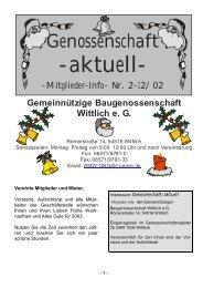 aktuell - Gemeinnützige Baugenossenschaft Wittlich eG
