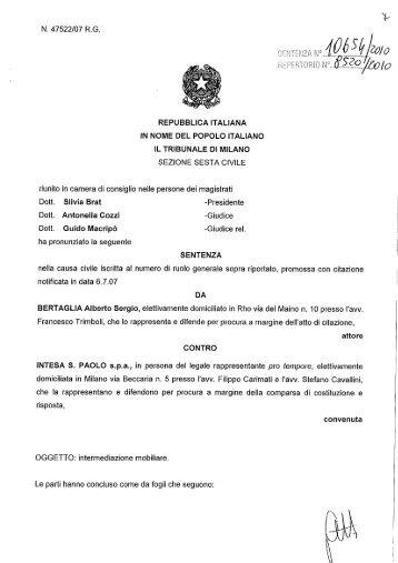 Sentenza Tribunale di Milano del 10 Settembre 2010