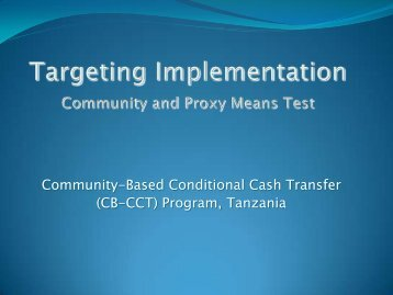Community-Based Conditional Cash Transfer (CB-CCT) Program ...