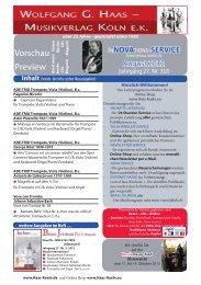 Neuerscheinungen - Wolfgang G. Haas. - Musikverlag Köln ek