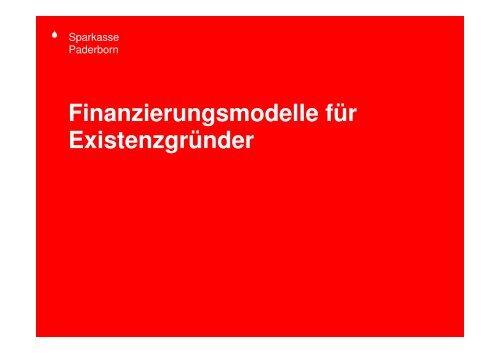 Finanzierungsmodelle für Existenzgründer