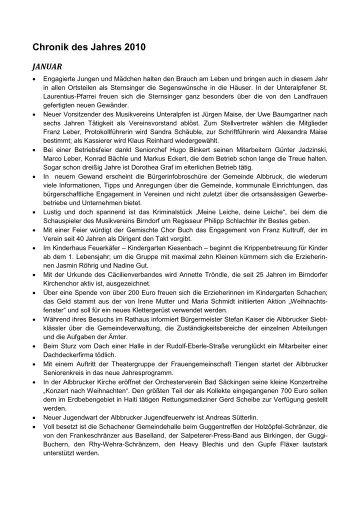 Chronik des Jahres 2010 - Gemeinde Albbruck