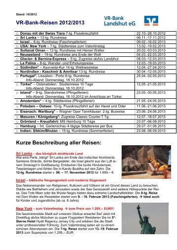 VR-Bank-Reisen 2012/2013