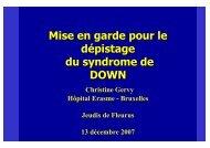 Mise en garde pour le dépistage du syndrome de DOWN