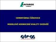 Modelové hodnocení kvality ovzduší Čížkovice