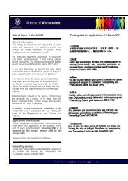 Date of issue: 2 March 2012 Closing date - Notice of Vacancies