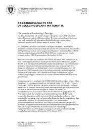 BAKGRUNDSANALYS FÖR UTVECKLINGSPLAN I MATEMATIK ...