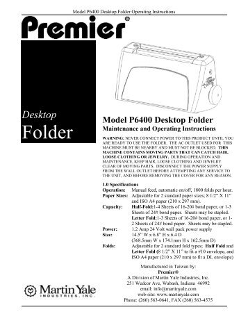 Model P6400 Desktop Folder Maintenance and  ... - Wescott Company