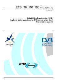 TR 101 190 - V1.3.2 - Digital Video Broadcasting (DVB ... - ETSI