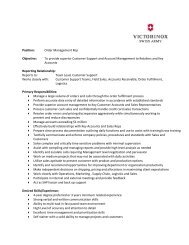 Position: Order Management Rep Objective: To provide ... - Victorinox