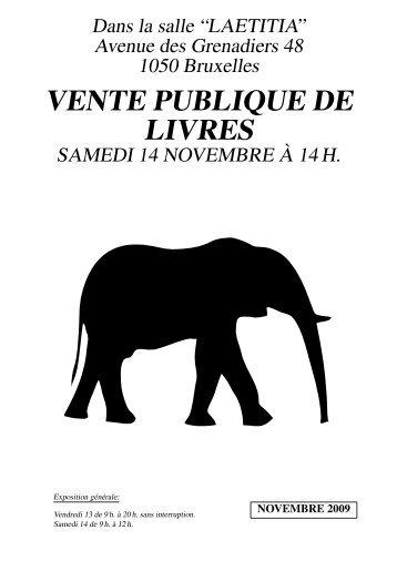 VENTE PUBLIQUE DE LIVRES - Librairie des Éléphants