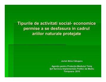 Tipurile de activitati social- economice ce sunt permise a se dezvolta ...