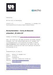 "Buchpräsentation – Conny de Beauclair präsentiert ""30 Jahre U4"""