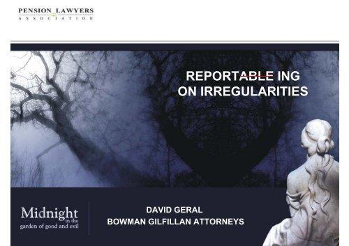 reportable irregularity