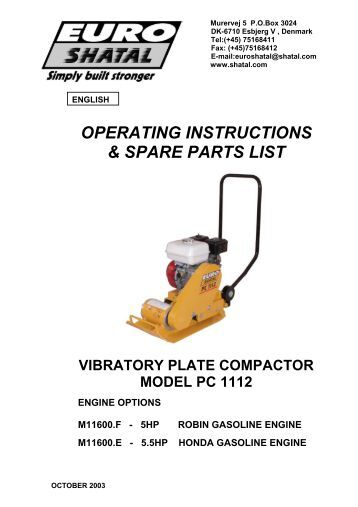 operating instructions & spare parts list vibratory plate compactor ...