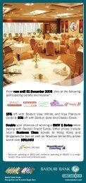 15% off with Baiduri Visa Infinite and Visa Platinum ... - Baiduri Bank