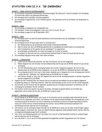 Statuten - IJ.VV De Zwervers