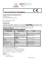 DECLARATION DE CONFORMITE' - Gavra