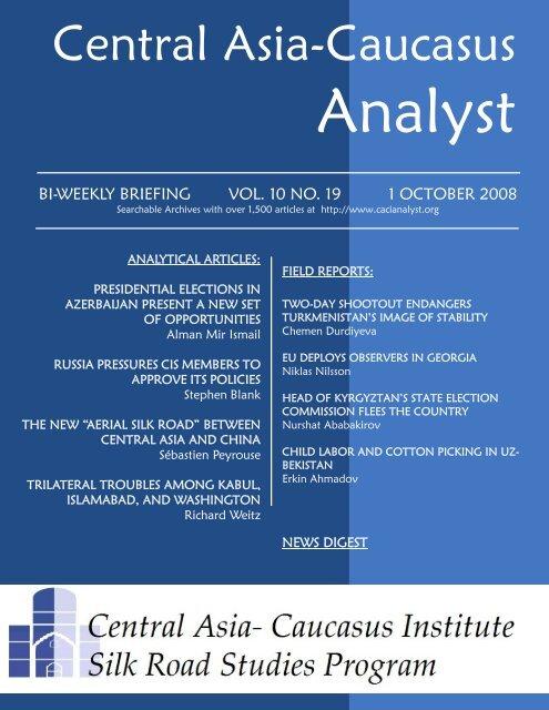 Niklas Nilsson - The Central Asia-Caucasus Analyst