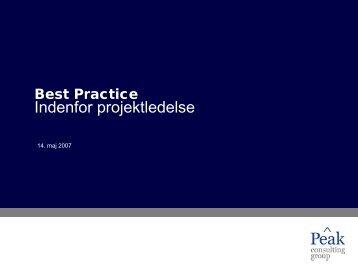 Best Practice indenfor projektmetoder - Peak Consulting Group