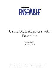 Using SQL Adapters with Ensemble - InterSystems Documentation