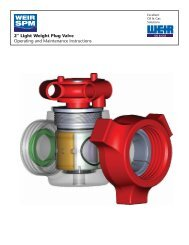 COVER - 2-INCH LW PLUG VALVE BRO - Weir Oil & Gas Division