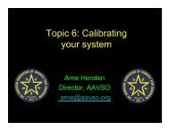 Topic 6: Calibrating your system - AAVSO
