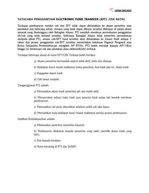 Prosedur Penggantian Cek Dan Eft Batal