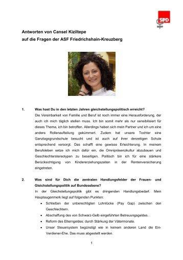 Antworten Cansel Kiziltepe - SPD Friedrichshain-Kreuzberg