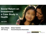 (SROI): A Case Study in Health - Social Enterprise Associates