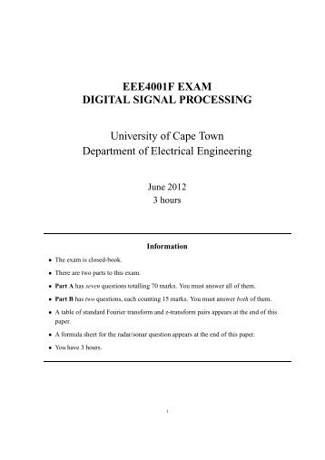 EXAM - UCT Digital Image Processing - University of Cape Town