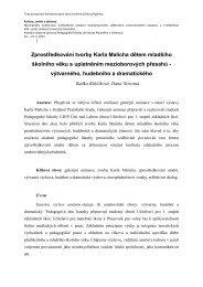 Zprostředkování tvorby Karla Malicha dětem mladšího školního věku ...