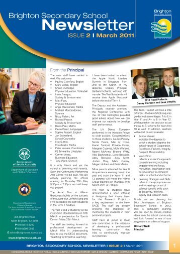 Newsletter March 2011 - Brighton Secondary School