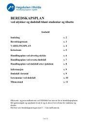 BEREDSKAPSPLAN - Kvalitetssystem ved Høgskolen i Molde