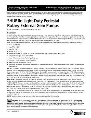 SHURflo Light-Duty Pedestal Rotary External Gear Pumps