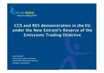 CCS and RES demonstration in the EU under the New Entrant's ...