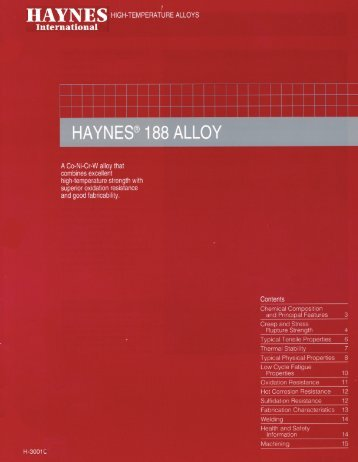 HAYNES ® 188 alloy - Haynes International, Inc.