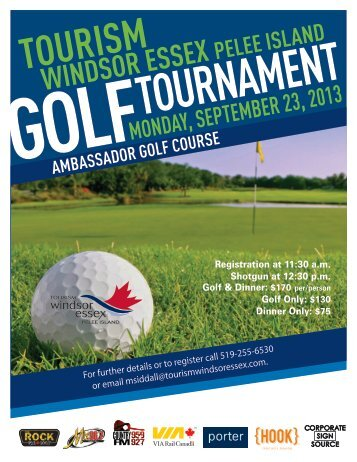 2013 Golf Registration Forms - Tourism Windsor, Essex, Pelee Island