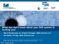 What you don't know about your SAP - IBIS Prof. Thome