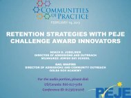 retention strategies with peje challenge award innovators