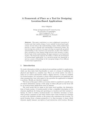 A Framework of Place as a Tool for Designing ... - experiments