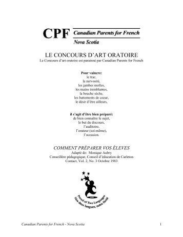 CONCOURS D'ART ORATOIRE - CPF-NS