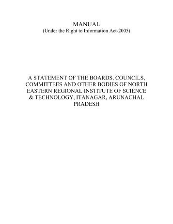 MANUAL (Under the Right to Information Act-2005) (pdf) - NERIST