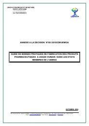 Guide de Bonnes Pratiques de Fabrication des produits ... - UEMOA