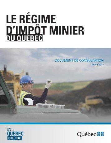 Le régime d'impôt minier du Québec - Document de consultation